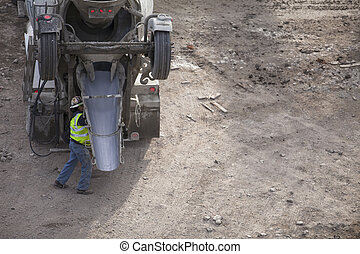cement mixer truck in a site
