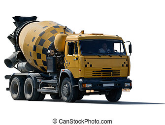 cement mixer truck isolated on white background