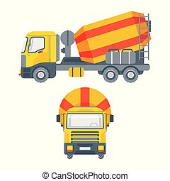 cement mixer truck side view and front view
