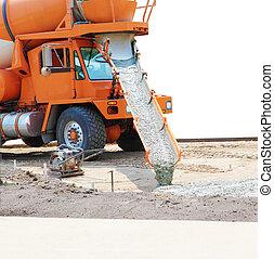 Cement Mixer Truck - Concrete mixer truck pouring cement...