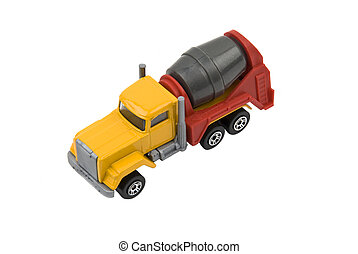Cement mixer truck toy used in construction isolated on ...