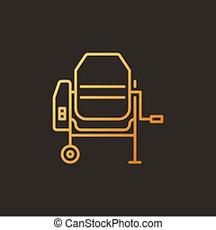 Cement Mixer vector concept colored outline icon on dark ...