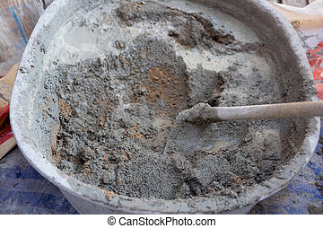Cement mixing in truck for buildings construction