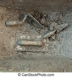 cement mortar dirty grunge trowel tools