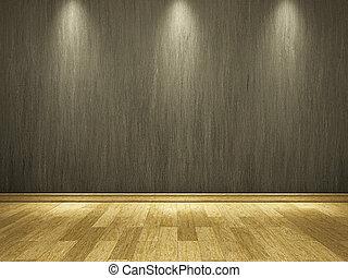 cement, muur, en, houtenvloer