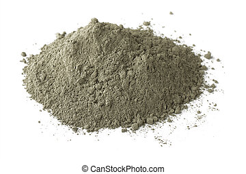 Cement - Pile of dry grey portland cement isolated on white