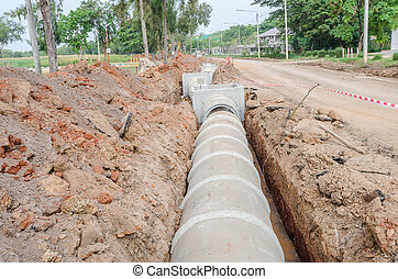 cement pipeline ditch on the construction site