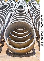 Cement pipes or Concrete pipe.