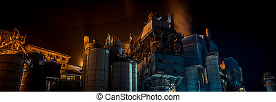 cement plant in the night - panoramic view