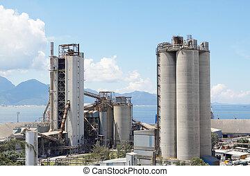 cement, plant, of, cementeren fabriek, zware, industrie, of, bouwsector, industry.