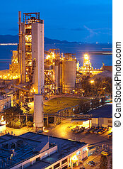 cement, plant, of, cementeren fabriek, zware, industrie, of,...