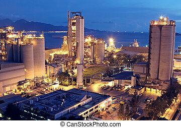 cement, plante, eller, cementer fabrik, tung, industri,...