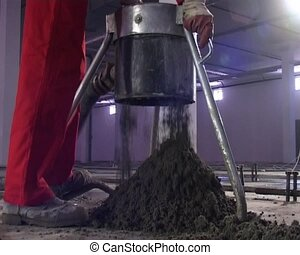 cement pouring - the mecanical pumping of dried cement to...