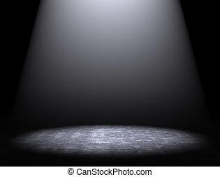 cement, reflektorfény, háttér, emelet