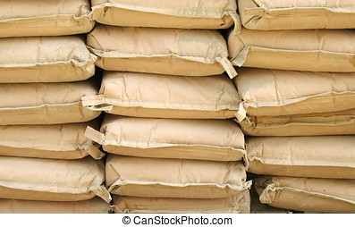 Cement Sacks - -- neatly stacked for a construction project