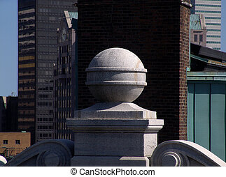 Cement Sphere atop building in Boston