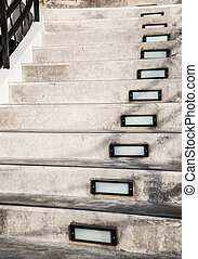 Cement staircase with illuminated box