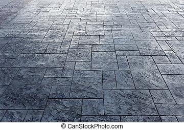 cement, tömb, emelet, közül, útburkolat, képben látható, város utca