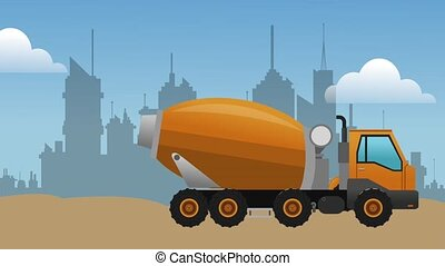 Cement truck and backhoe passing by city HD definition -...