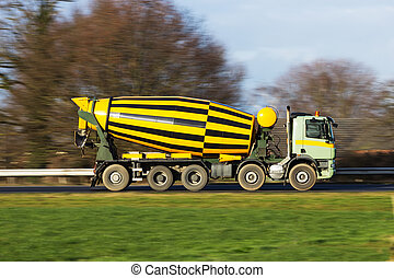 cement truck - Cement truck on a highway
