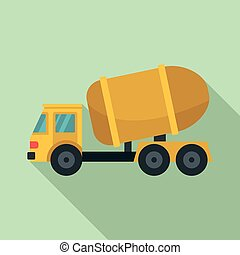 Cement truck icon, flat style