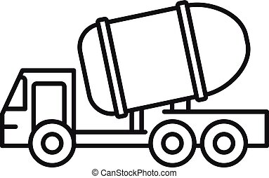 Cement truck icon, outline style