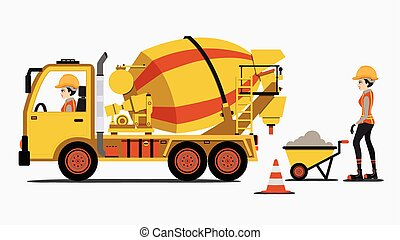 Cement truck with female engineers and construction ...