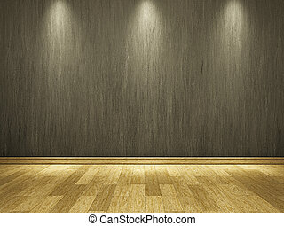 The old grey cement wall and wooden floor