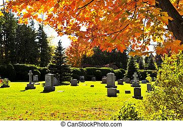 cementerio, con, lápidas