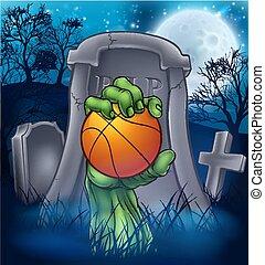 cementerio, halloween, baloncesto, zombi, concepto