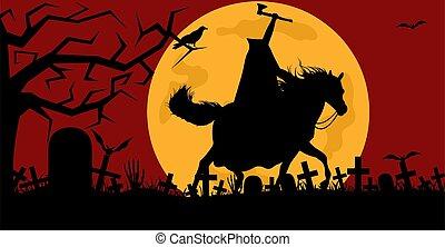 cementerio, hombre, caballo que cabalga, sin cabeza