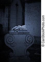 cementerio, niño, estatua