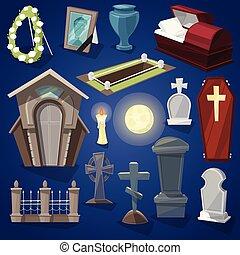 cementerio, vector, asustadizo, cementerio, y, halloween, horror, en, noche, ilustración, conjunto, de, fantasmal, tumba, o, tumba, y, lápida, aislado, fondo