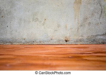 cemento, parete, e, pavimento legno
