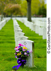 Cemetary 2 - Photo of Headstone With Flowers
