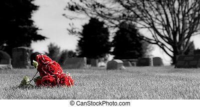 a small bouquet of roses, lost in the grass at a cemetary. desatured background to enhance the mood and bring out the bouquet against the grey and lifeless. full color version also available.