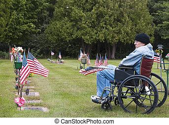 cemetary, veteraan, wheelchair