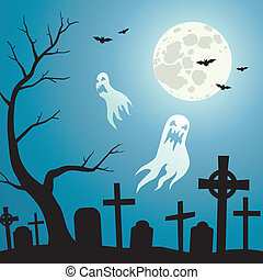 Cemetery and Ghosts - Ghosts in the cemetery a moonlit night