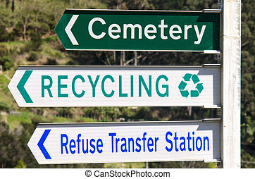 Cemetery and Recycling Station Street Signs - Cemetery , ...