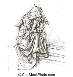 Cemetery Angel sketch line vector for use
