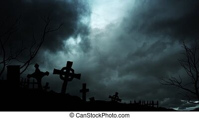 An ominous cemetery at night during a thunderstorm. The aftermath of the global epidemic. 4k video