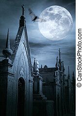 Cemetery at night - Old european cemetery in a full moon ...