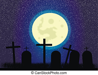 Cemetery at night - Vector picture about cemetery and full...