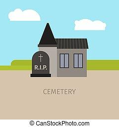Cemetery building cartoon illustration