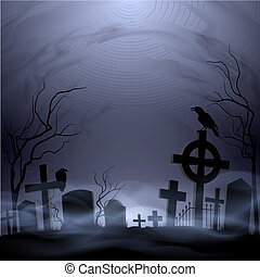 Cemetery - Night cemetery. Headstones and crosses. Clouds...