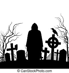Cemetery - Silhouette of the cemetery on the white...