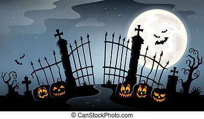 Cemetery gate silhouette theme 4 - eps10 vector illustration...