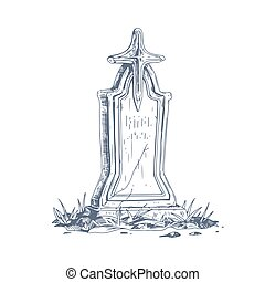 Cemetery gravestone with stone cross. Sketch of old medieval religious tombstone in vintage style. Ancient funeral art. Hand-drawn vector illustration of headstone isolated on white background
