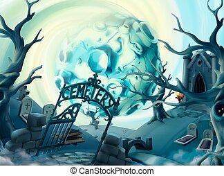 Cemetery, halloween background. Cartoon landscape, 3d vector...