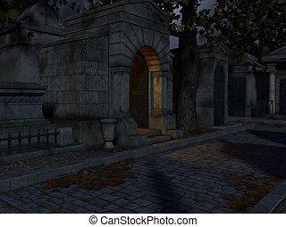cemetery-, halloween, bakgrund